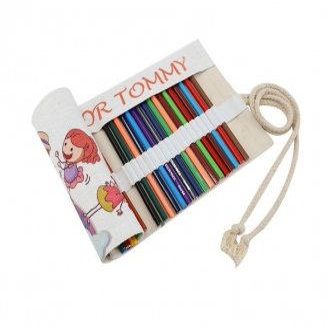 Linen like pencil roll up case