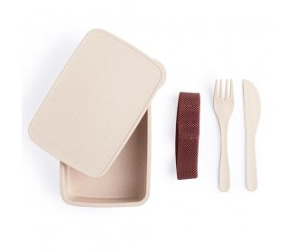 Bamboo lunch box with cutlery