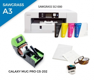 Pack heat press for mugs Galaxy Mug Pro GS-202 + printer Sawgrass SG1000