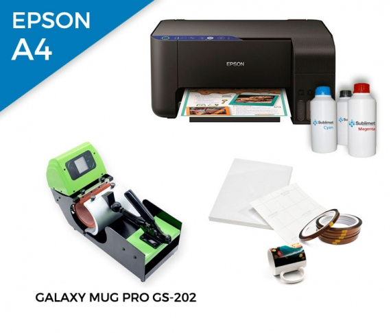 Pack thermal plate for mugs Galaxy Mug Pro GS-202 + printer Epson EcoTank ET-2711