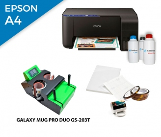 Pack thermal plate for mugs Galaxy DUO GS-203T + printer Epson EcoTank ET-2711