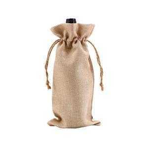 Bolsa para vino de tela tipo arpillera 17 x 34 cm