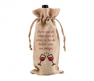 Faux burlap wine bag 17 x 34 cm