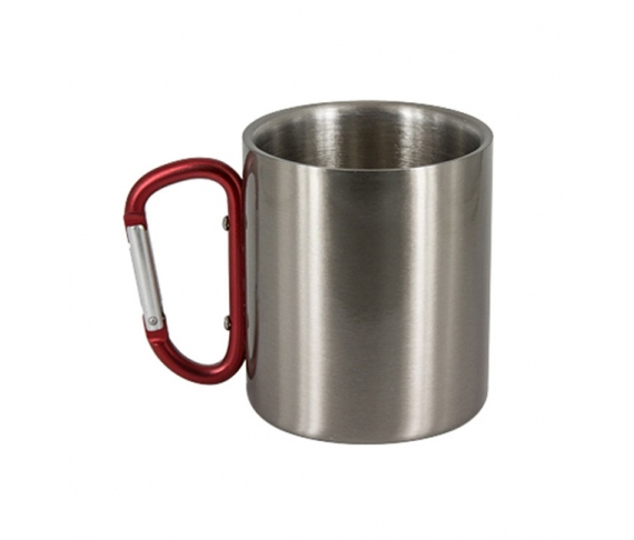 Stainless steel mug with carabiner handler (7oz)