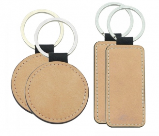 Pastel Brown leatherette keychains (various shapes)